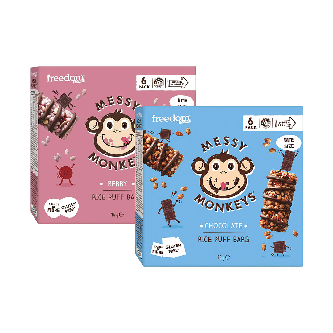 Messy Monkey's Rice Puff Bar Assorted 6 x 16g
