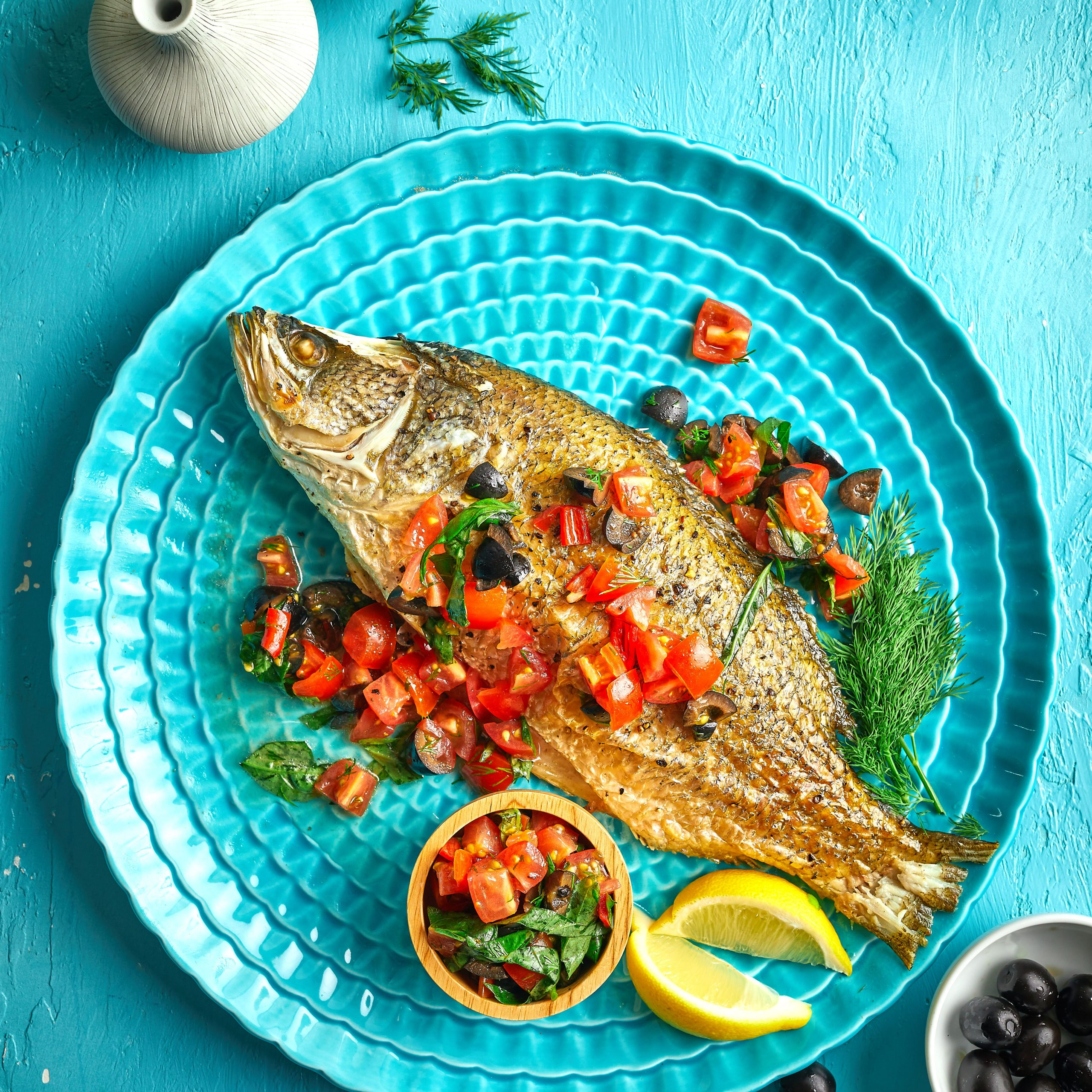 Seabass with Tomato & Black Olive Salsa